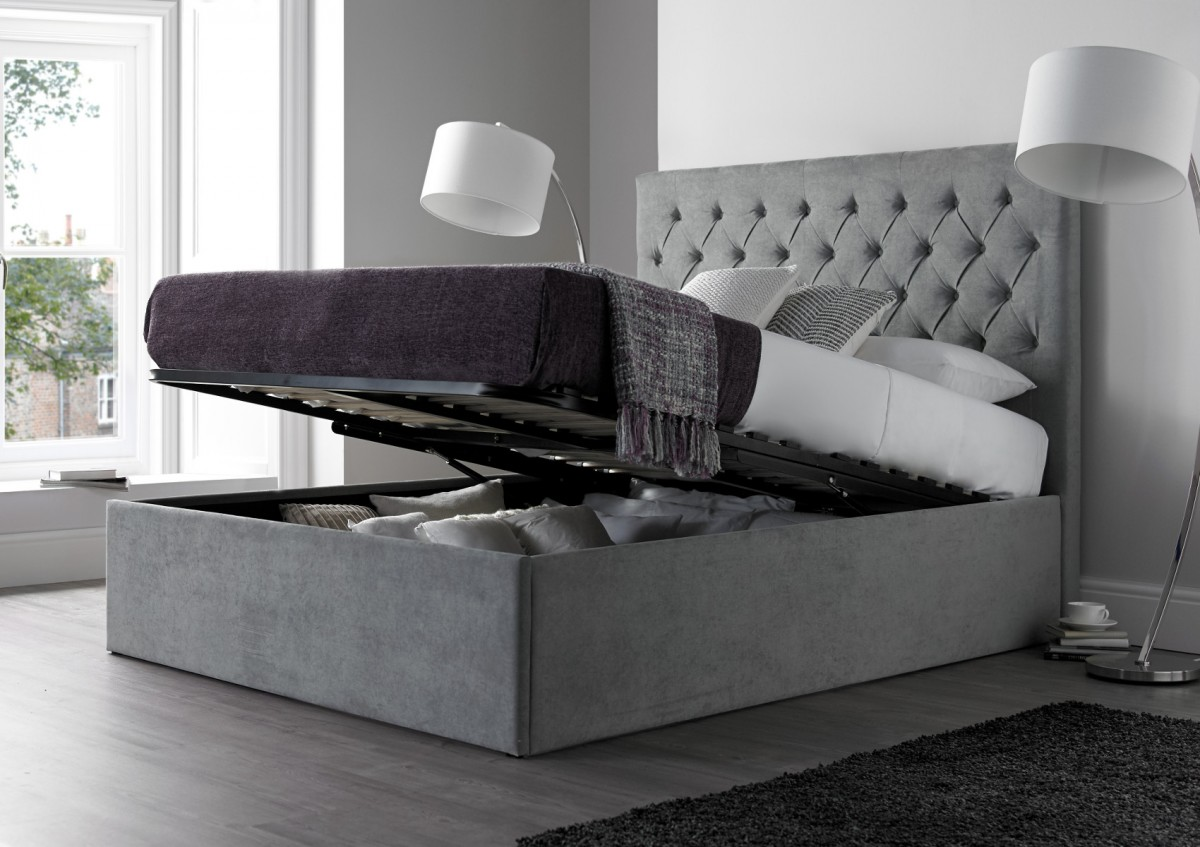 Picture of: Gray Diy Platform Bed with Storage Plans