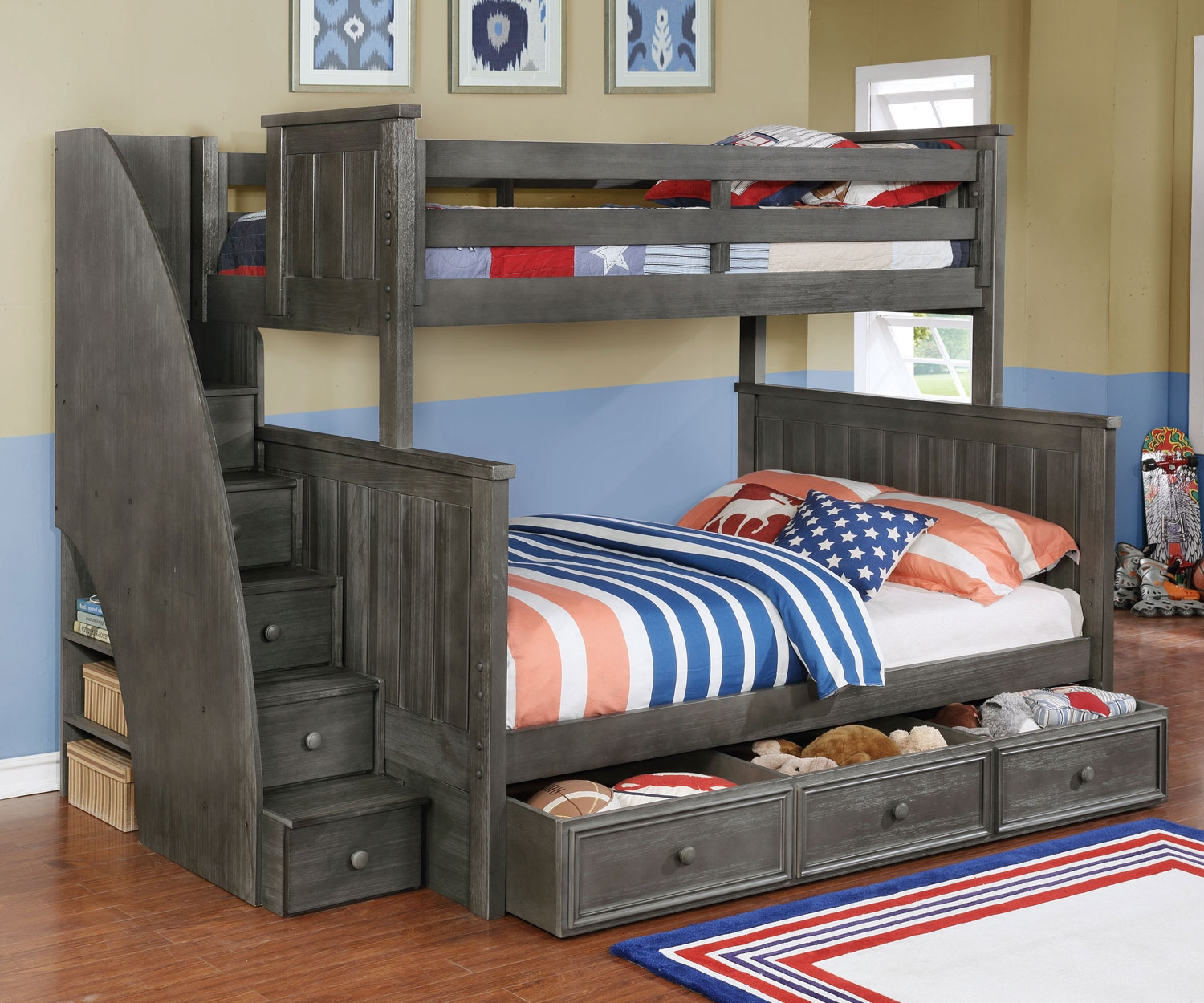 Picture of: Gray Twin over Full Bunk Bed with Storage