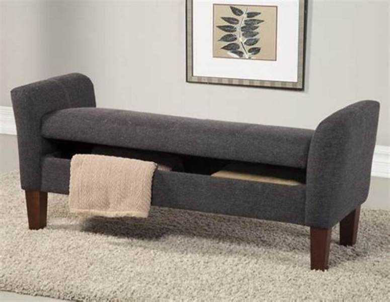 Picture of: Grey End Of Bed Storage Bench