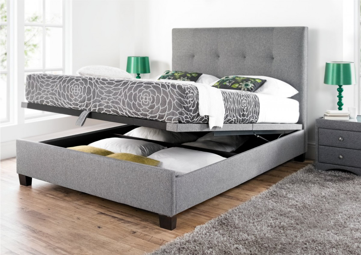 Picture of: Grey Ottoman Storage Bed