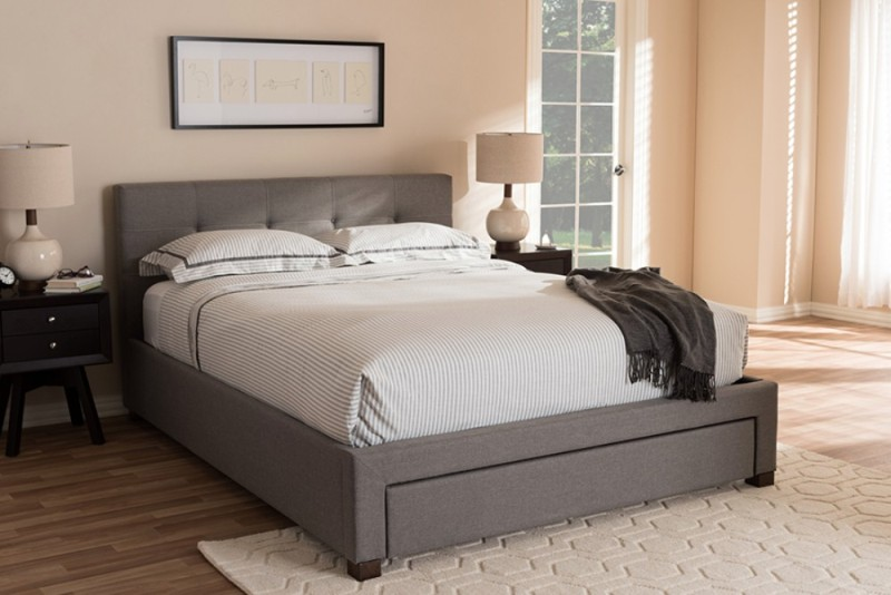 Picture of: Grey Platform Bed With Storage
