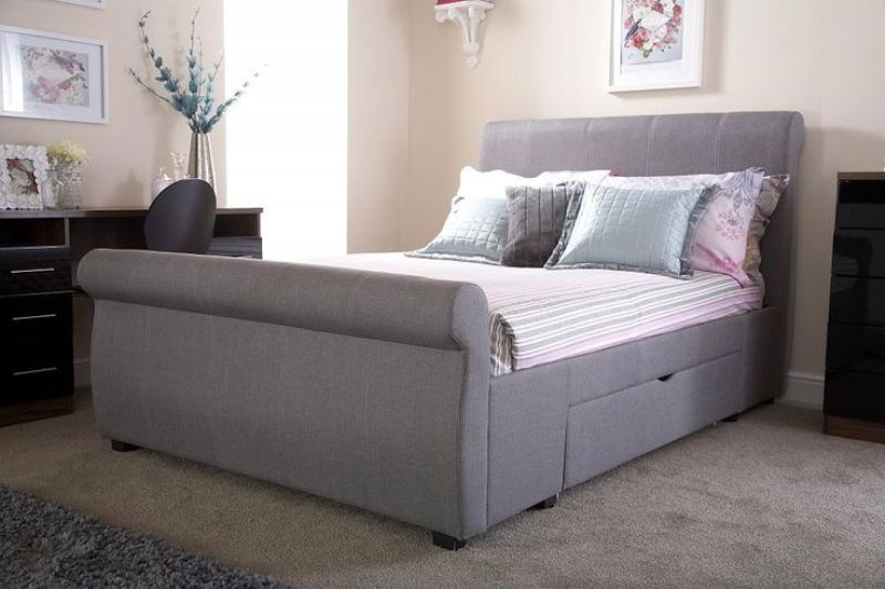 Picture of: Grey Sleigh Bed With Storage