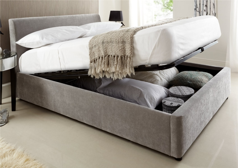 Picture of: Grey Upholstered Storage Bed