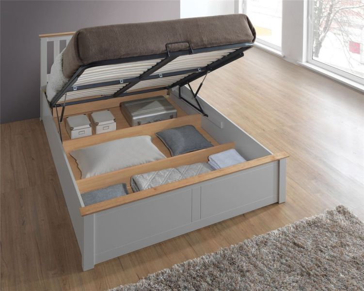 Grey Wood Storage Bed