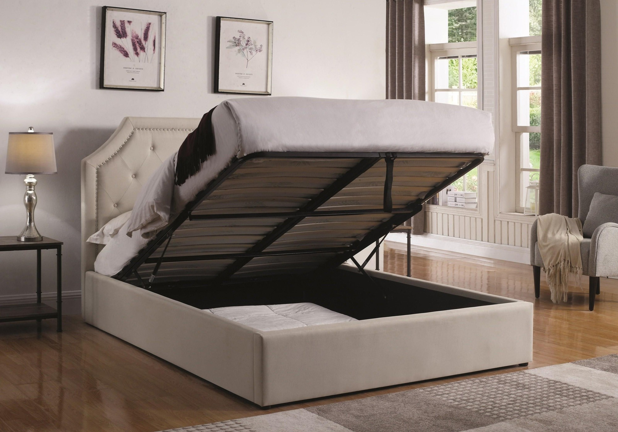 Image of: Hydraulic Lift Storage Bed Beige