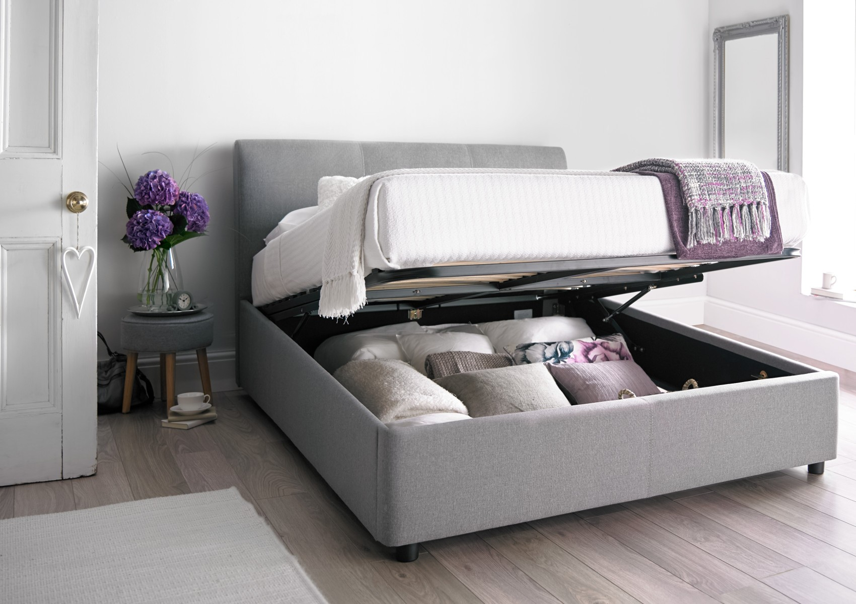 Image of: Hydraulic Lift Storage Bed Gray