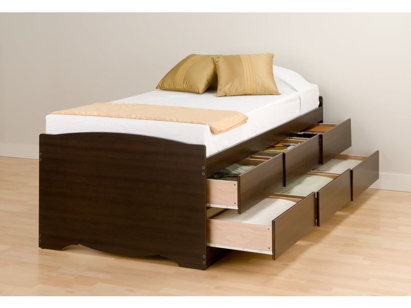 Image of: Ikea Bed with Drawers Twin