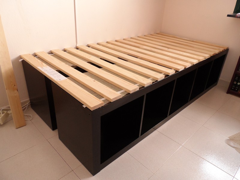 Image of: Ikea Storage Bed Frame Wood