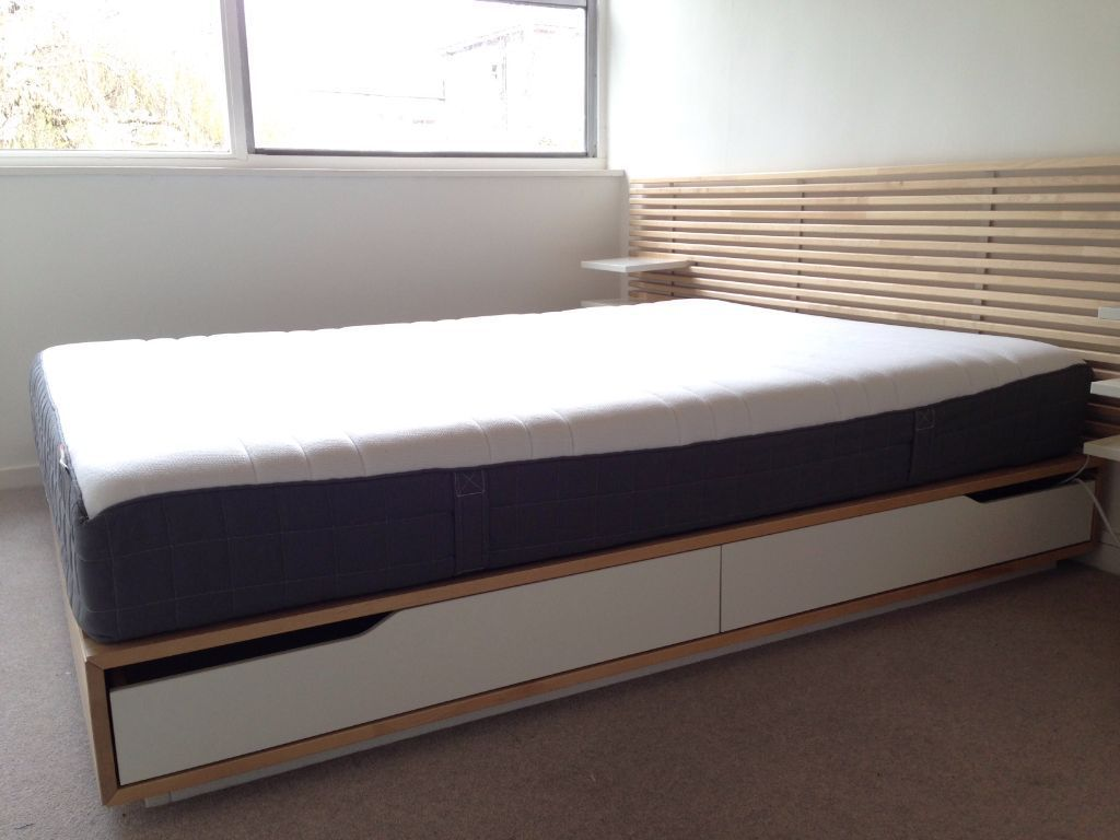 Image of: Ikea Storage Bed Frame with Curtains