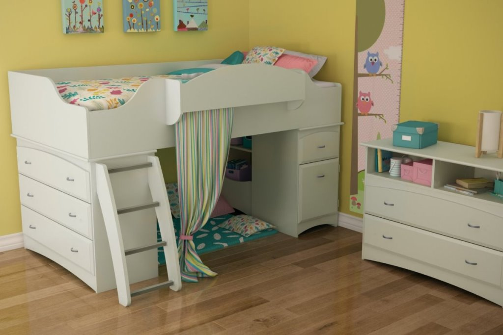 Image of: Kids Loft Bed With Storage Twin