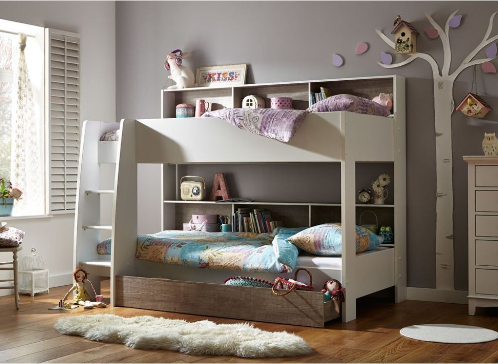 Image of: Kids Loft Bed with Storage Plans