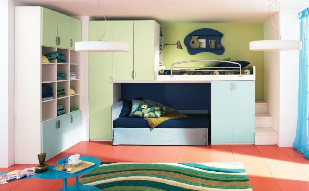 Image of: Kids Loft Bed with Storage Set