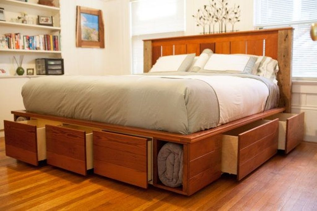 King Bed Rustic Storage Bed