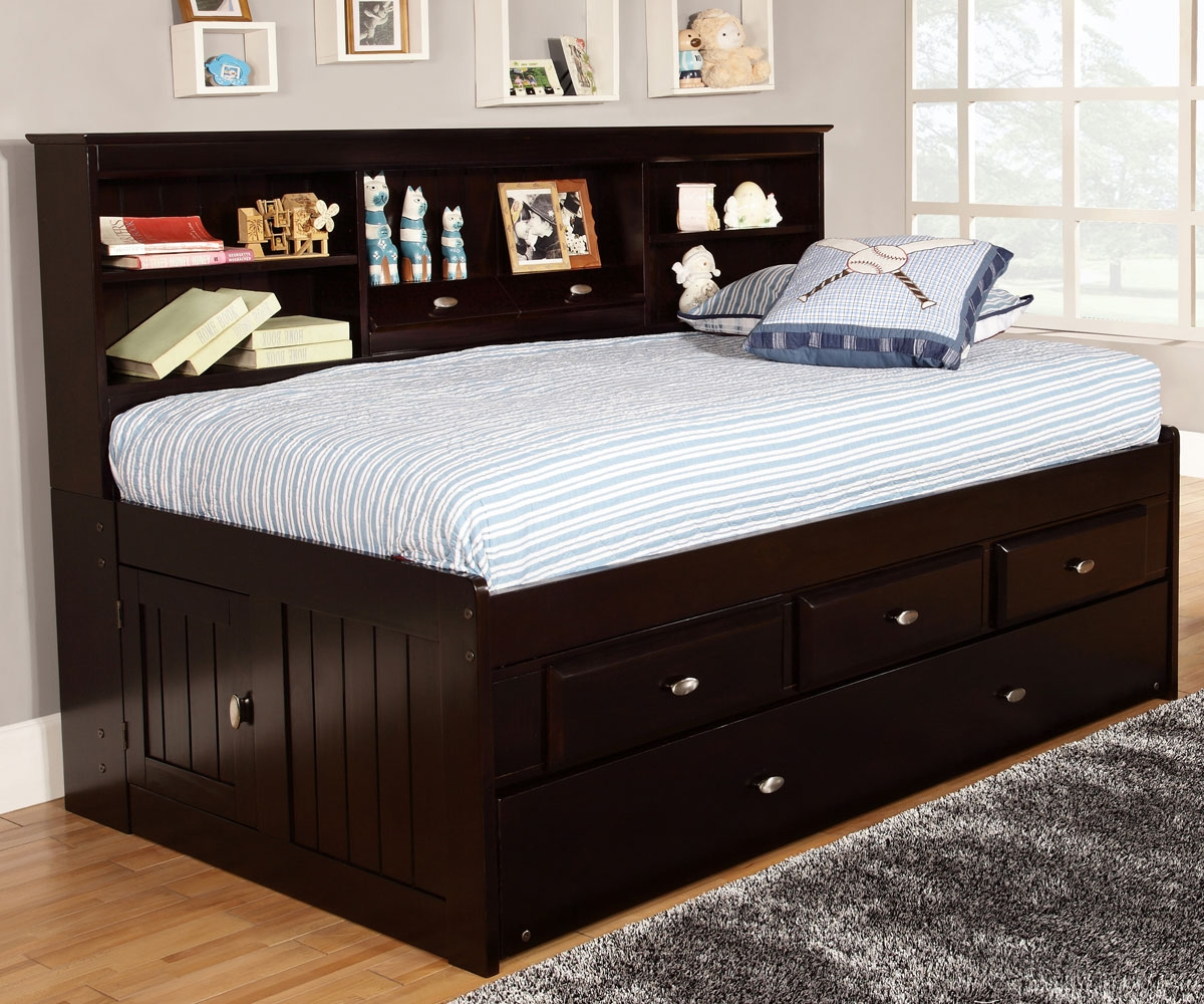 Image of: King Beds with Storage Bookcase