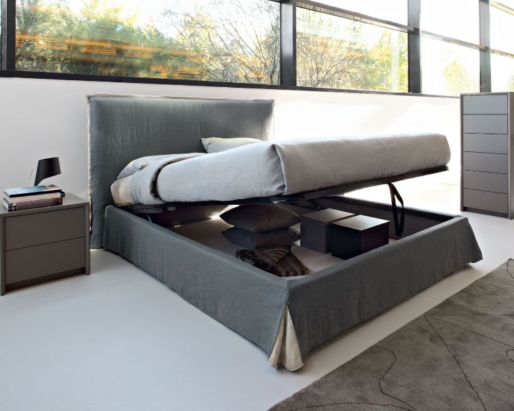 Image of: King Platform Bed With Storage Upholstered Headboard