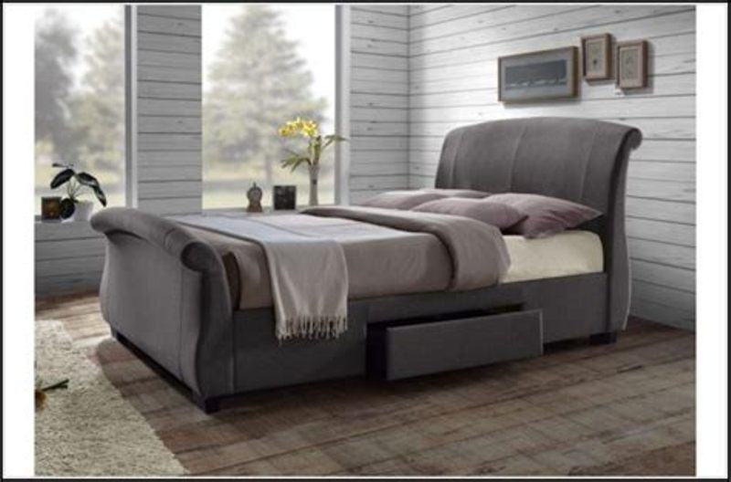 Image of: King Storage Bed With Upholstered Headboard