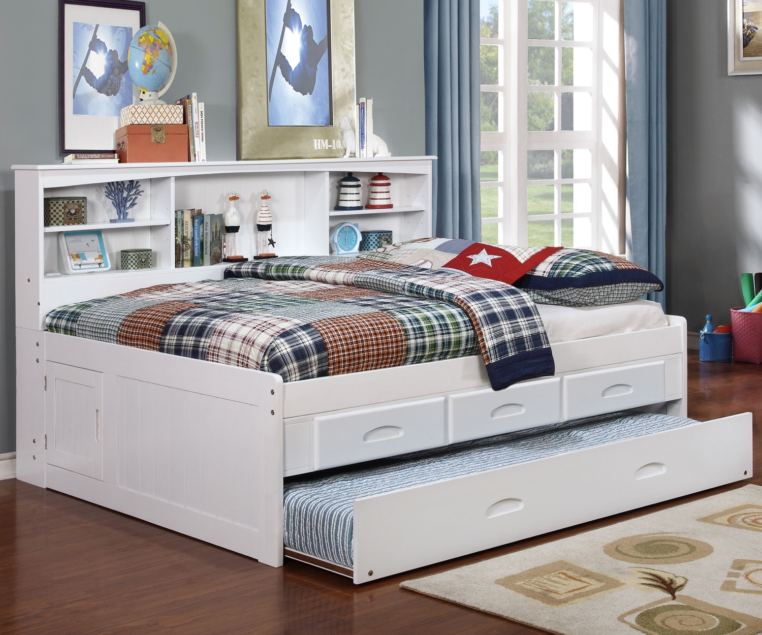 Picture of: King Twin Bed With Trundle And Storage