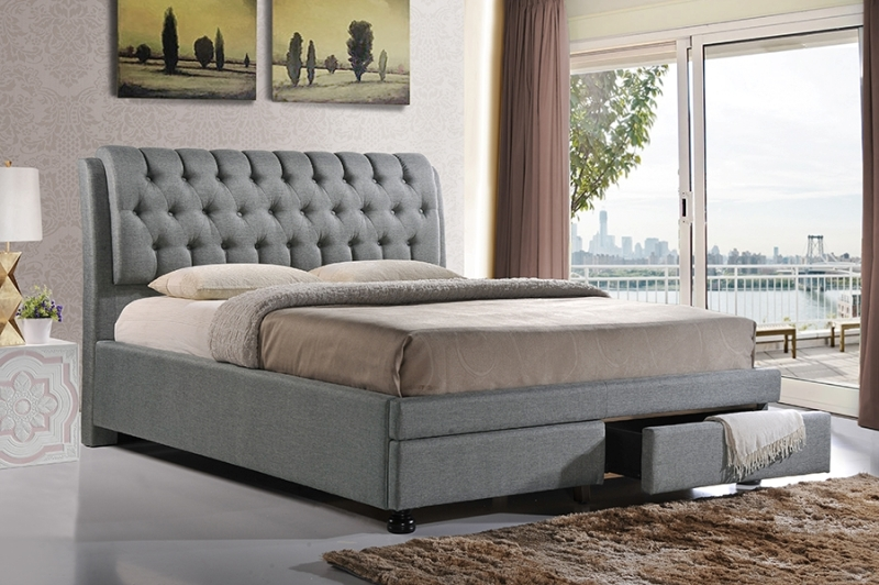 Image of: King Upholstered Bed With Storage