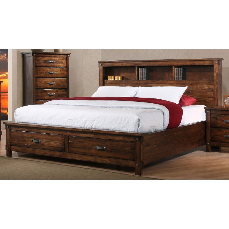 Image of: Large Rustic Storage Bed