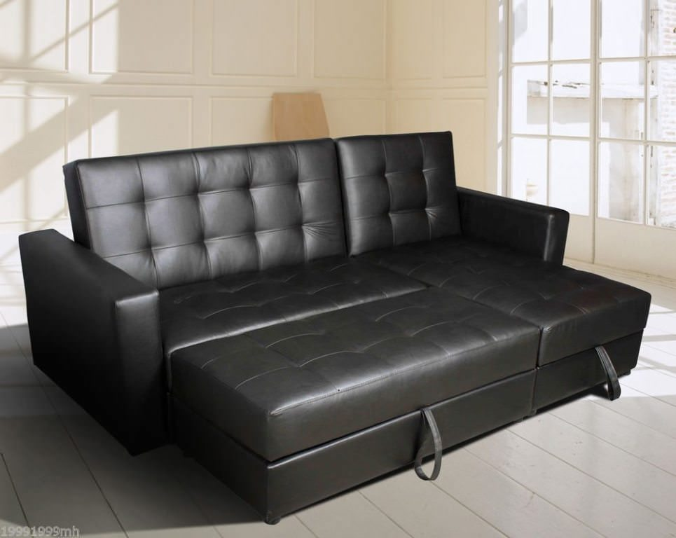 Leather Convertible Sofa Bed with Storage