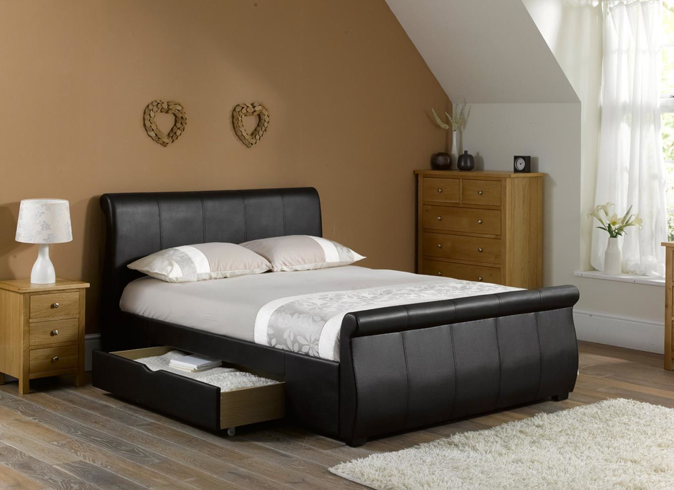 Picture of: Leather Diy Platform Bed with Storage Plans
