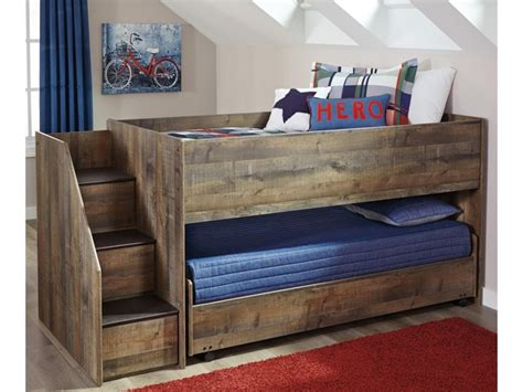 Image of: Low Bunk Bed with Storage Stairs