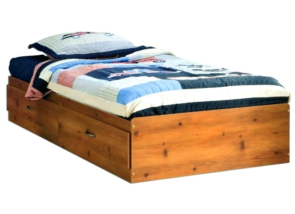 Image of: Low Profile Solid Wood Twin Bed with Storage