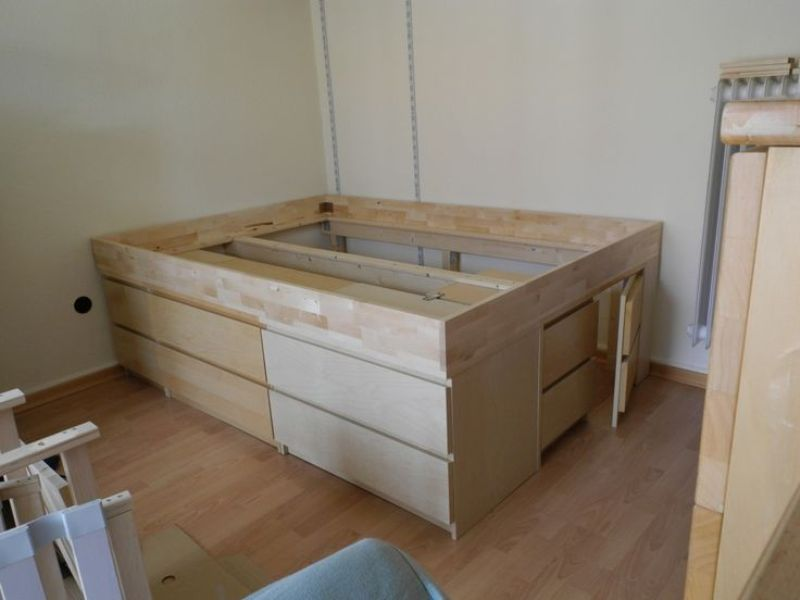 Image of: Malm Ikea Hack Storage Bed Ideas