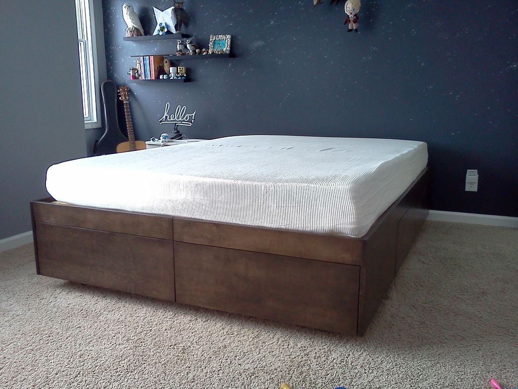 Image of: Metal DIY Queen Bed Frame with Storage
