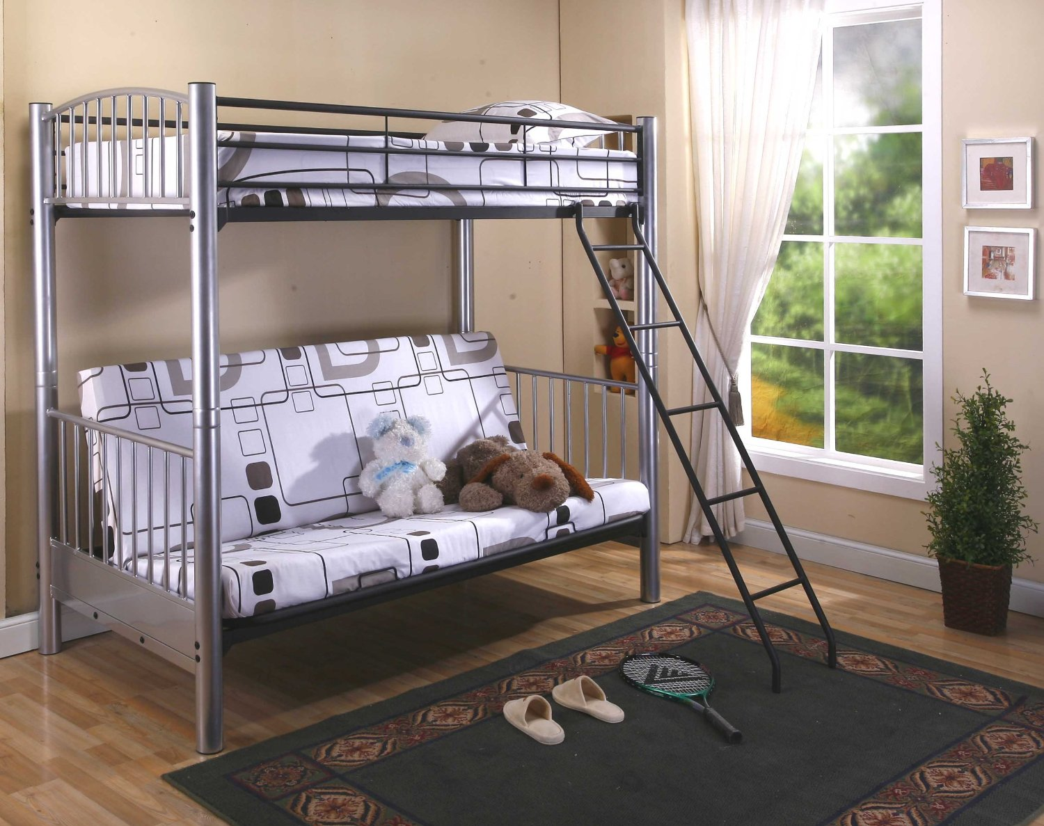 Picture of: Metal Kids Bunk Beds with Storage