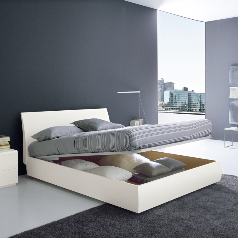 Picture of: Modern Storage Bed and Grey Wall