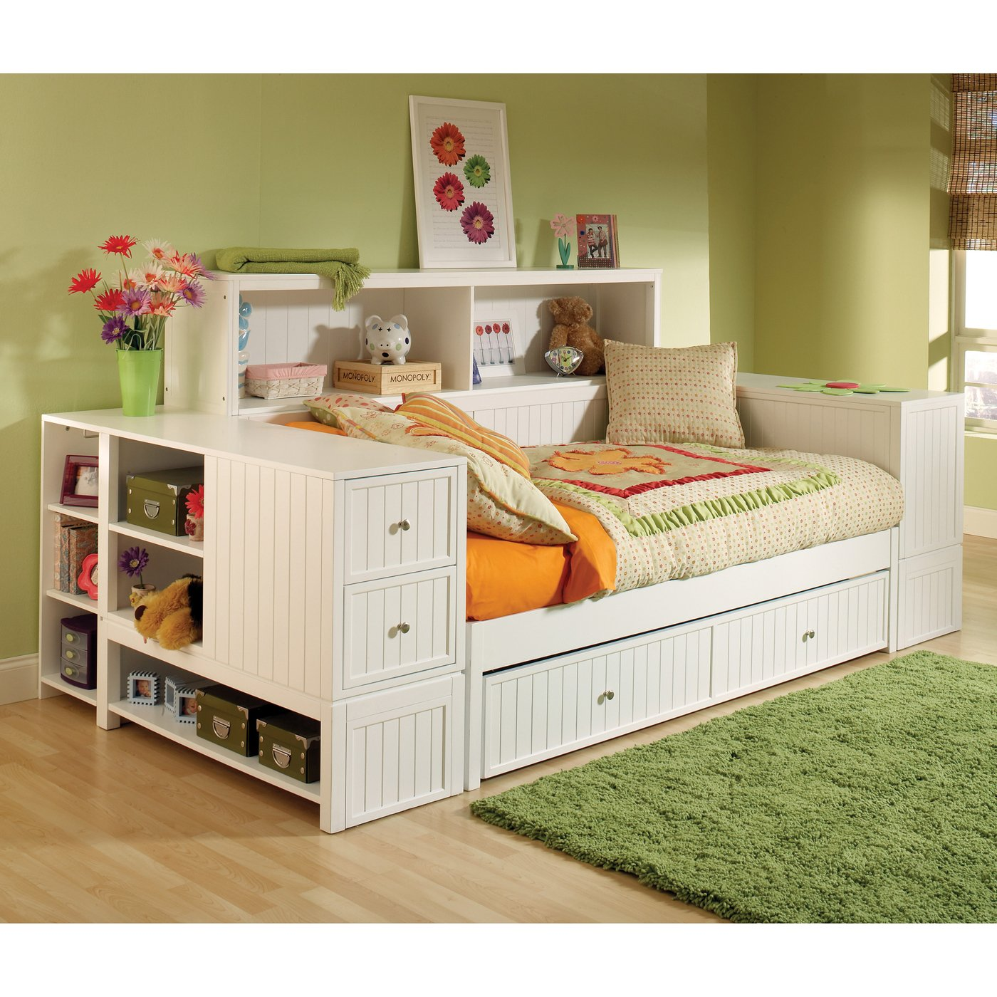 Picture of: Modern Twin Bed With Trundle And Storage