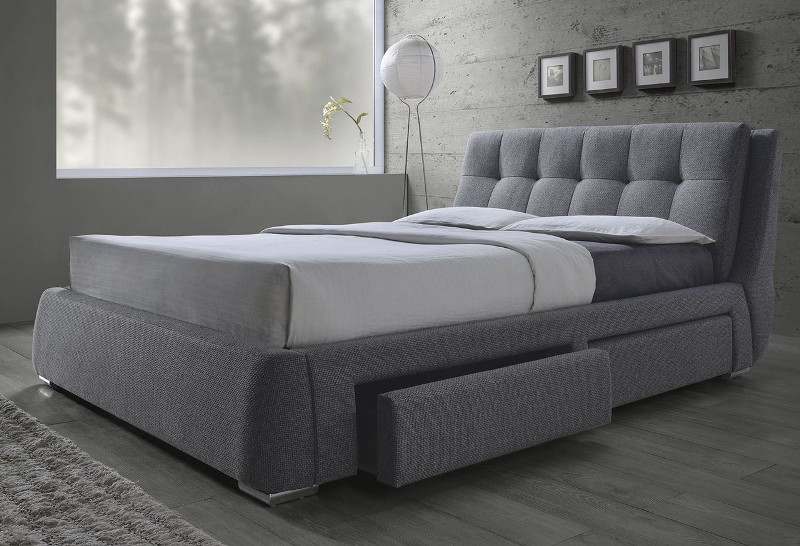 Image of: Morgana Upholstered Bed With Storage Gray King Size