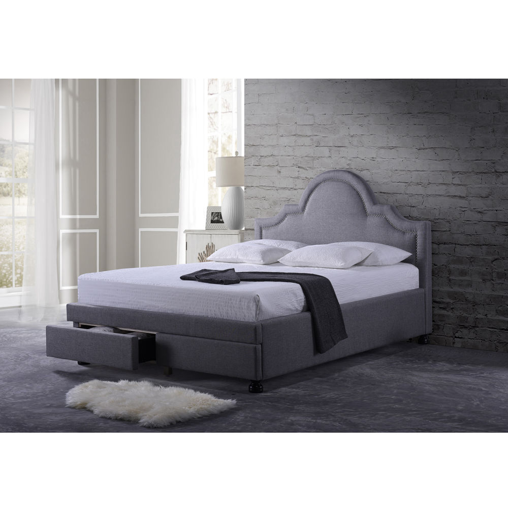 Picture of: Nice Grey Storage Bed