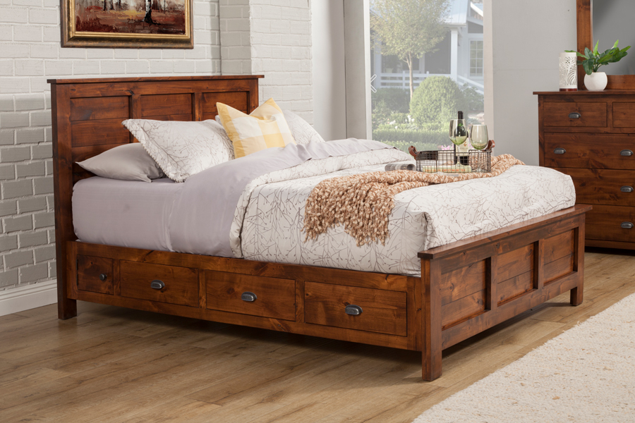 Picture of: Nice Rustic Storage Bed