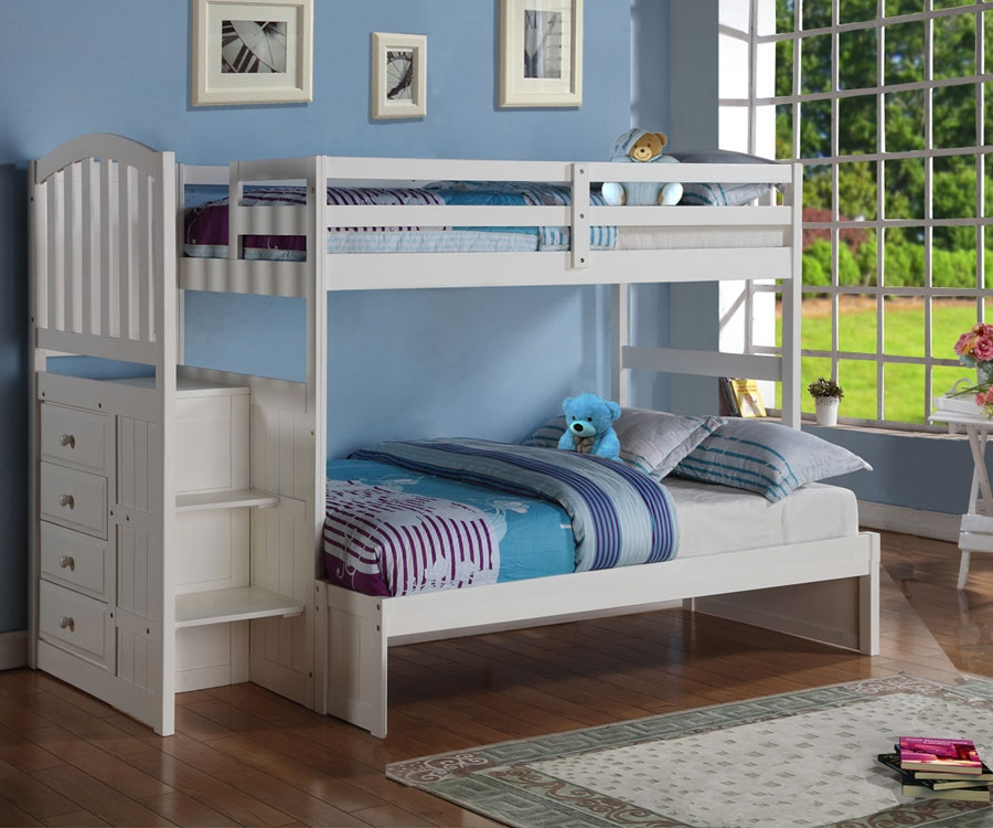 Picture of: Nice Twin over Full Bunk Bed with Storage