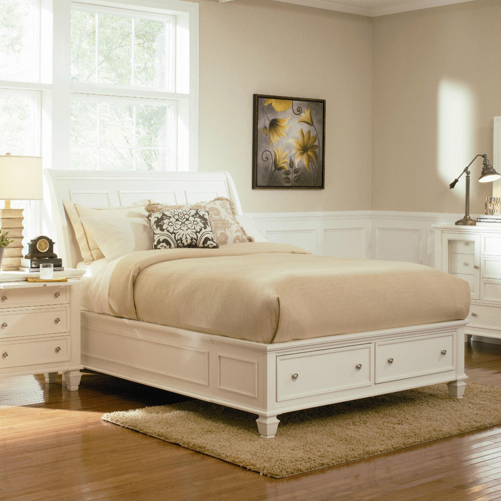 Picture of: Nice White King Storage Bed