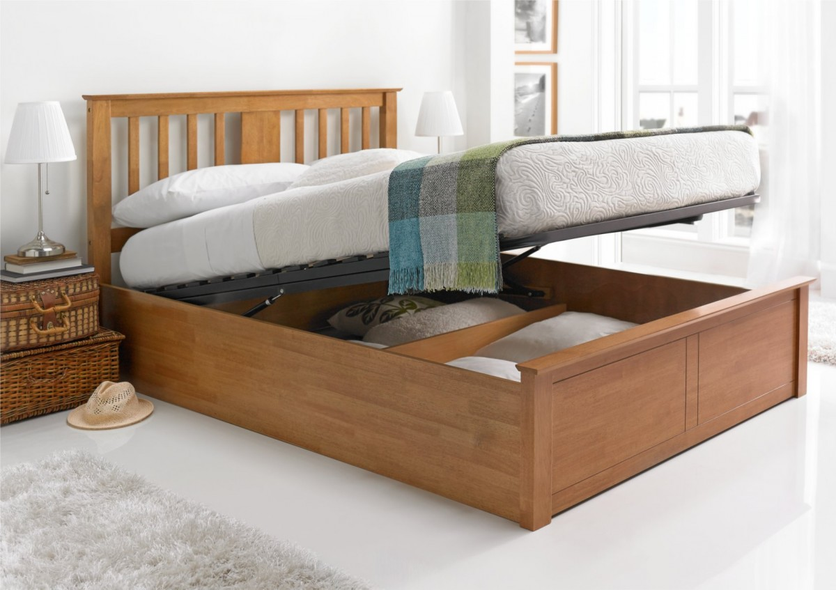 Image of: Oak Ottoman Storage Bed