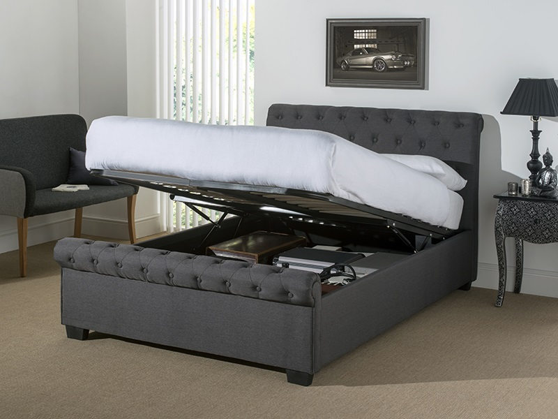 Picture of: Ottoman Grey Storage Bed
