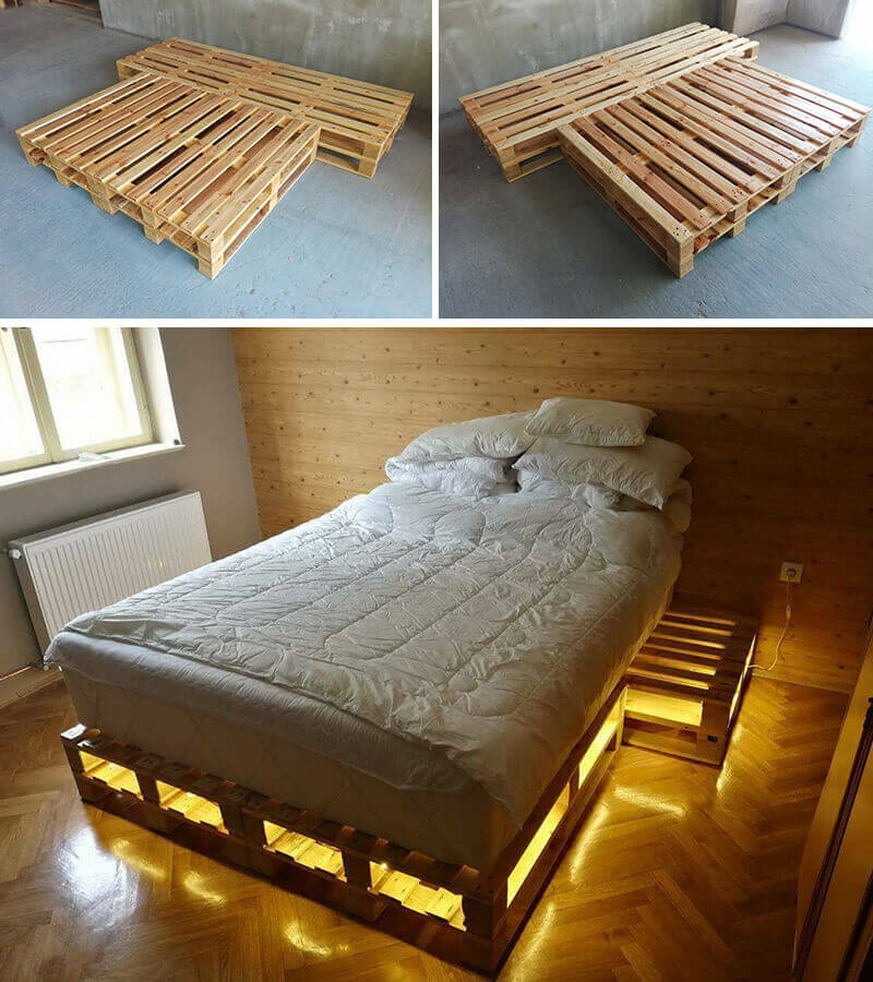Pallet Bed with Storage Light