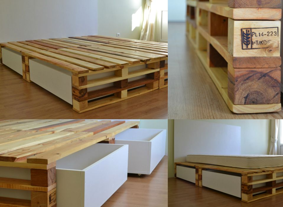 Picture of: Pallet Bed with Storage Wood