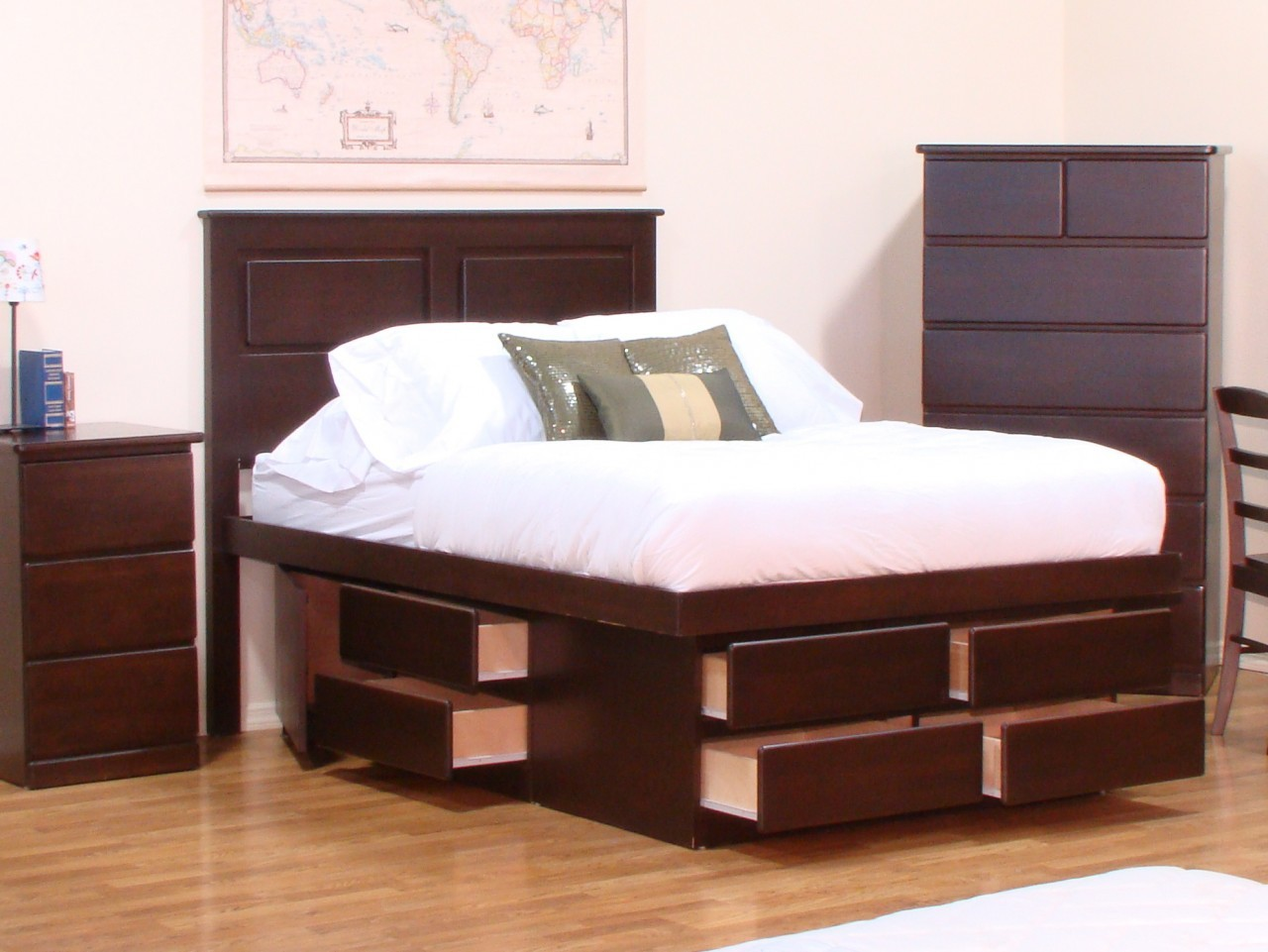 Image of: Platform Storage Bed Queen Brown