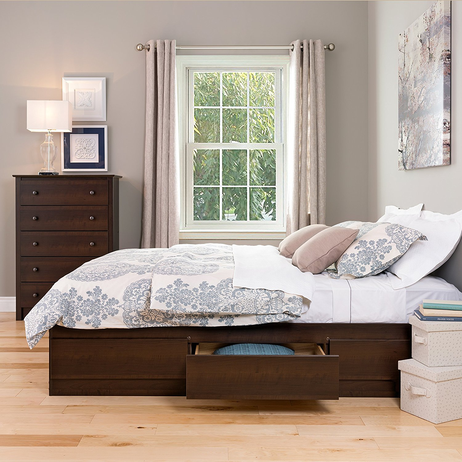 Platform Storage Bed Queen Espresso