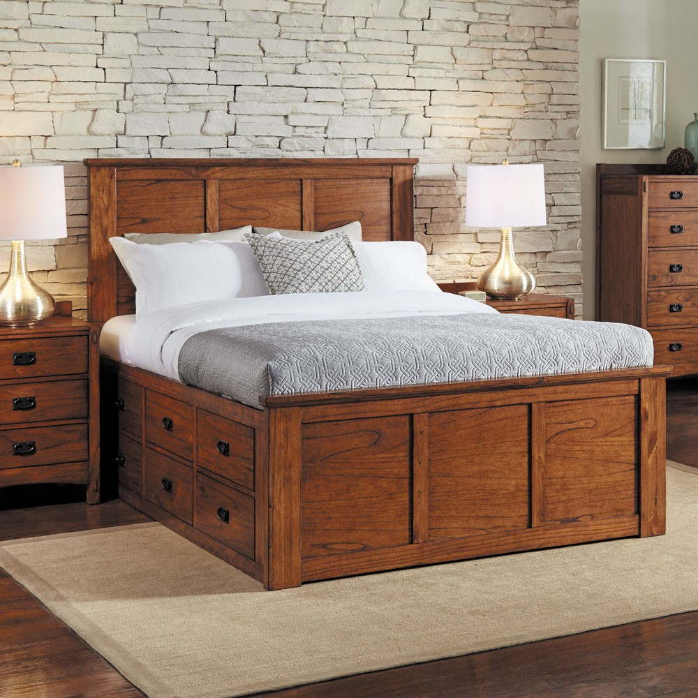 Image of: Platform Storage Bed Queen Oak