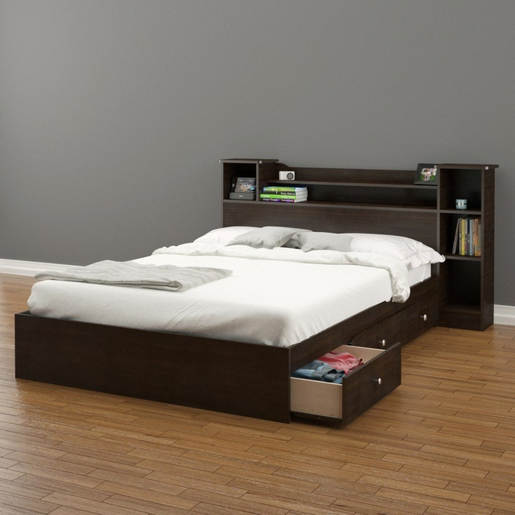 Image of: Platform Storage Bed Queen Size
