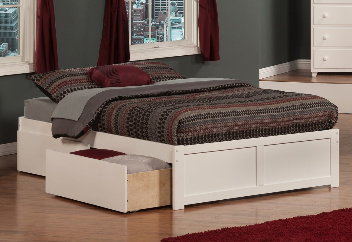 Platform Storage Bed Queen White