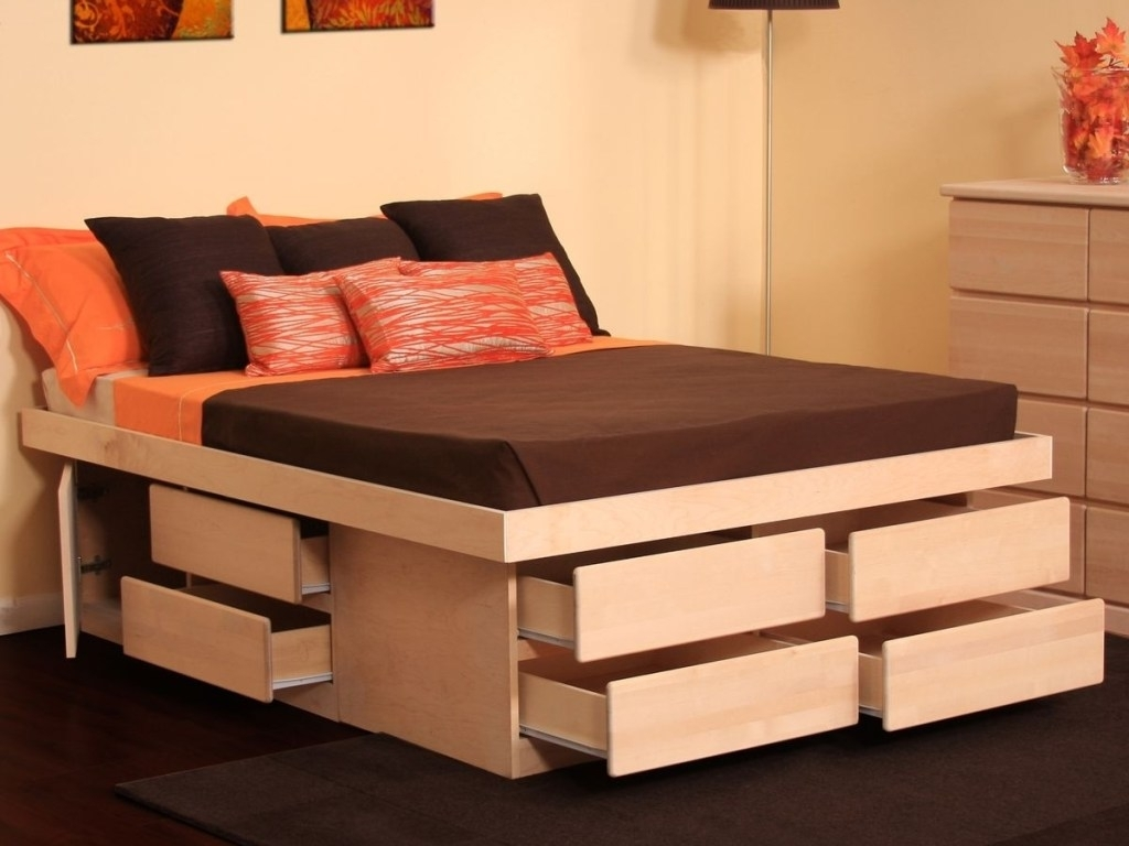 Queen Corner Storage Bed