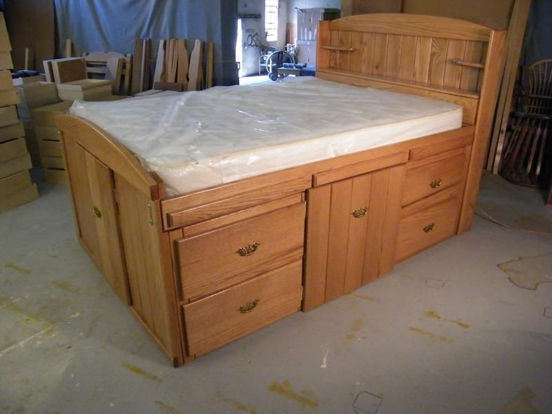 Image of: Queen Size Platform Storage Bed Plans