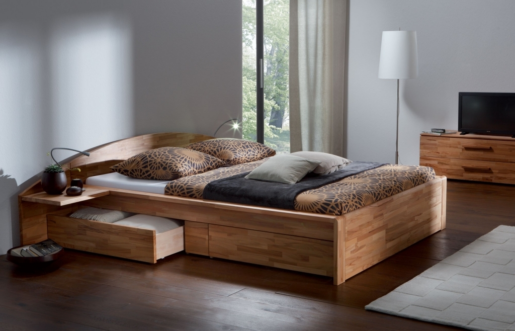 Image of: Solid Wood Storage Bed Modern