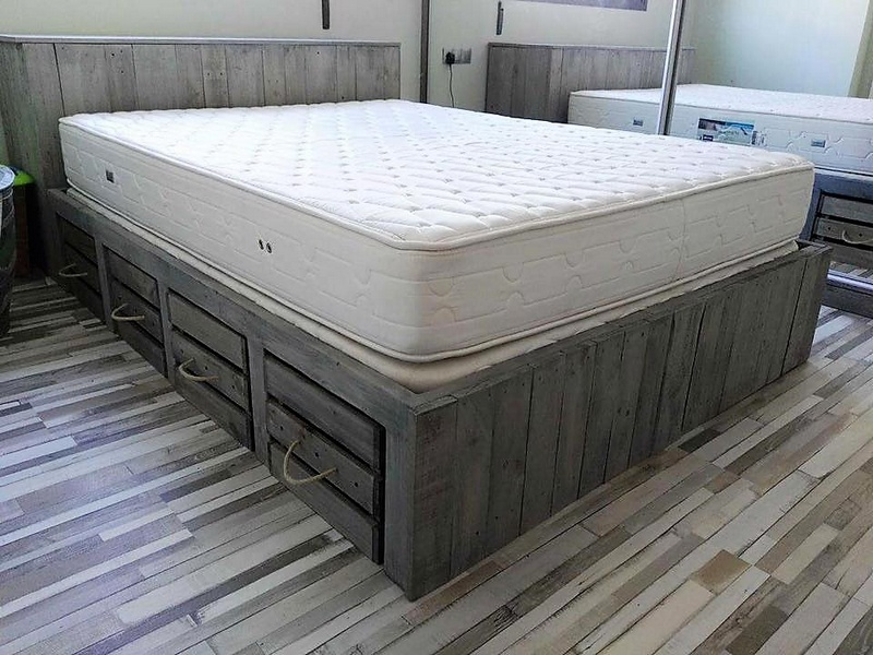 Picture of: Rustic Pallet Bed with Storage